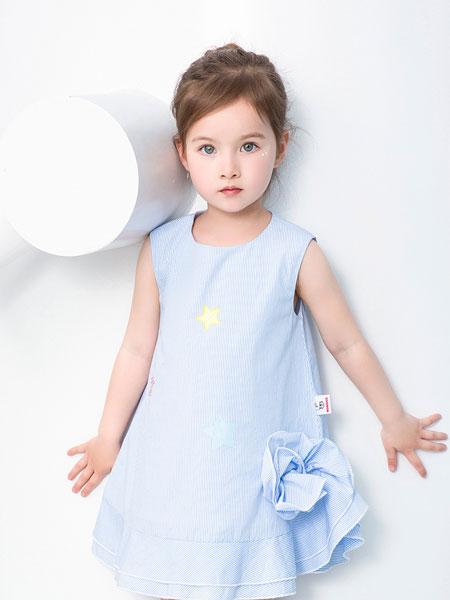 宾果童话童装品牌2021春夏蓝色无袖连衣裙