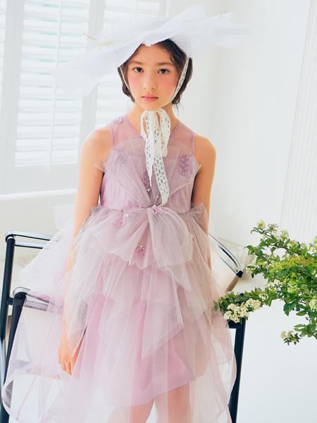 boabo.宝儿宝童装品牌2021春夏紫色网纱裙