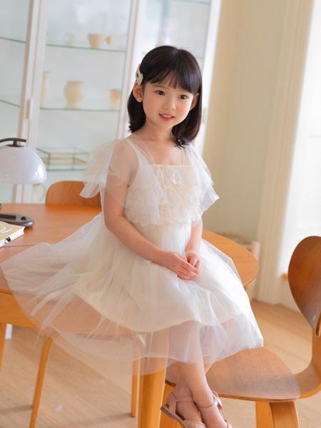 boabo.宝儿宝童装品牌2021春夏米色雪纺长裙