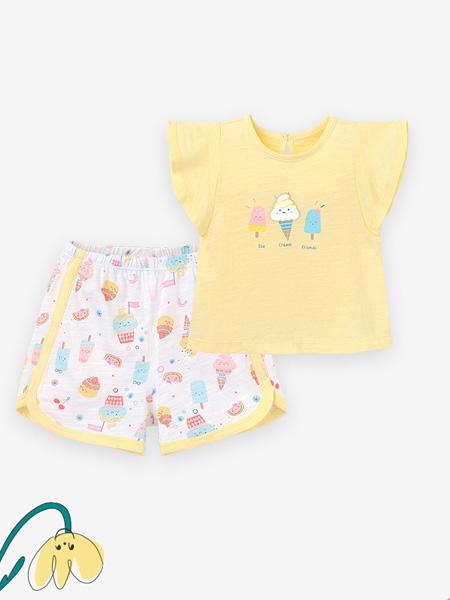 英氏童装品牌2021春夏黄色可爱小雪糕图案上衣