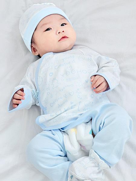 英氏童装品牌2021春夏蓝色印花字母婴童套装