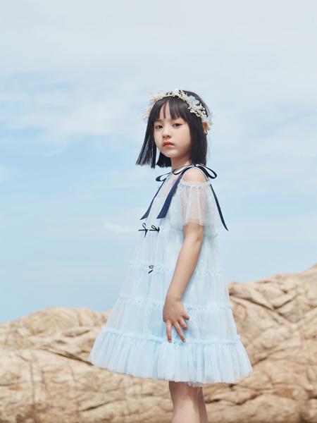 哈沐童装品牌2021夏雪纺露肩连衣裙