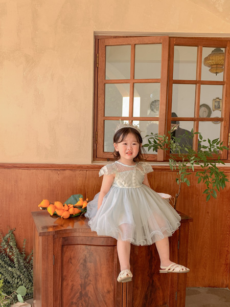 哈沐童装品牌2021夏雪纺蓬蓬公主裙
