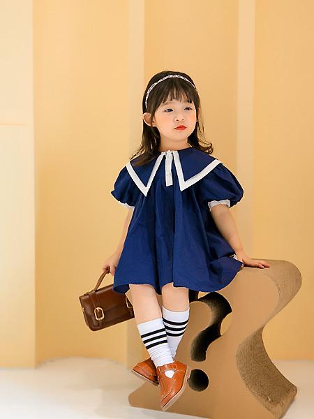 田果果童装品牌2021春夏学院风蓝色宽松裙
