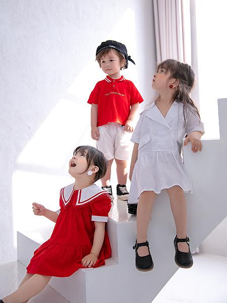 田果果童装品牌2021春夏红色翻领衬衫