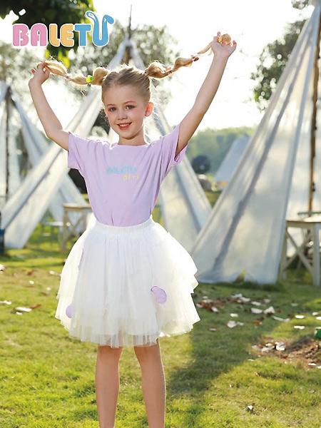 芭乐兔童装品牌2021春夏紫色印字母上衣