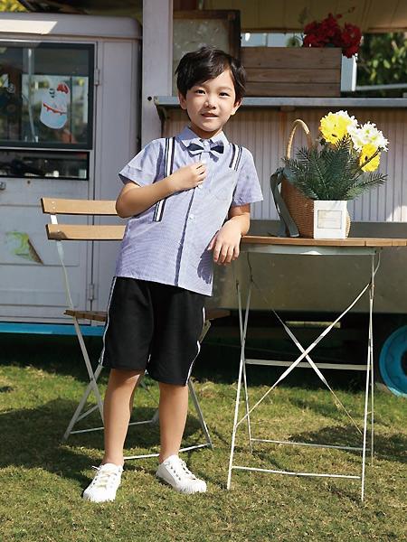 芭乐兔童装品牌2021春夏深色衬衫