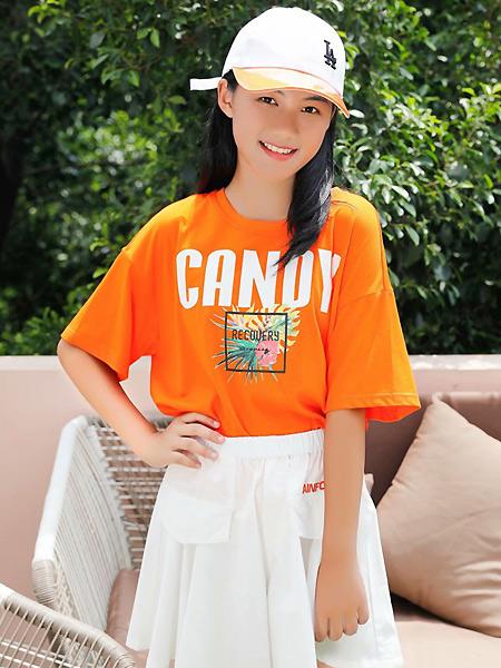 糖果布丁  青少年潮牌童装品牌2021春夏橙色宽松T恤