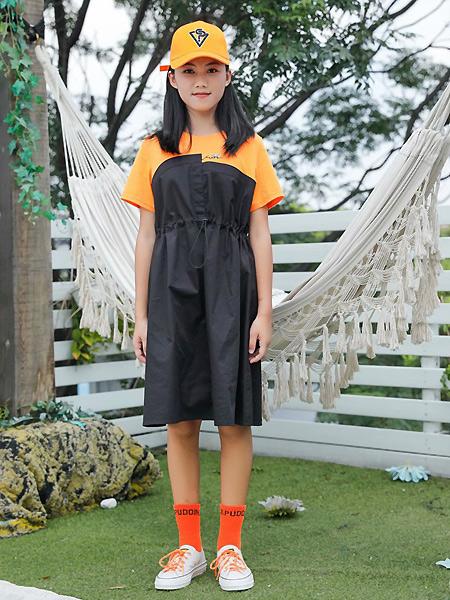 糖果布丁  青少年潮牌童装品牌2021春夏运动假两件套裹胸连衣裙