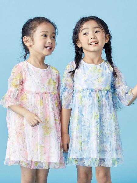 蒙蒙摩米 Mes amis童装品牌2021春夏甜美中袖雪纺连衣裙