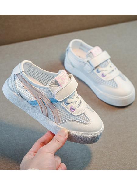 巴布豆童装品牌2021春夏网面粘粘鞋