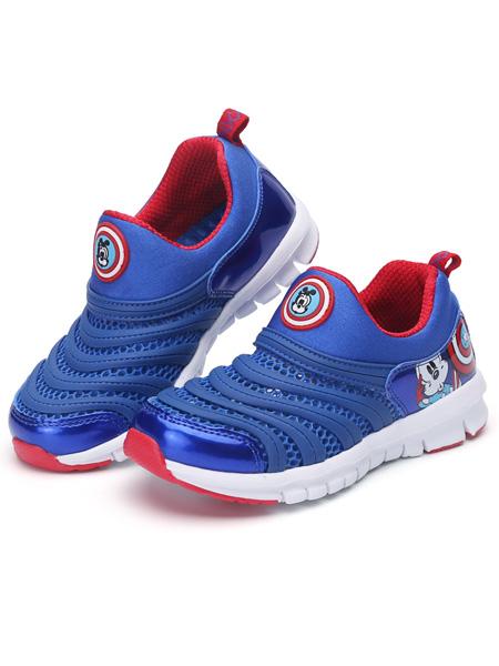 巴布豆童装品牌2021春夏蓝色弹性运动鞋