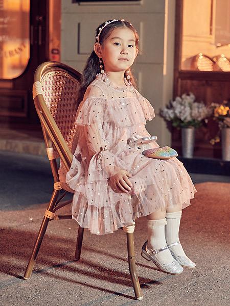 百�����H童鞋童�b品牌2021春夏甜美粉色��松雪��B衣裙
