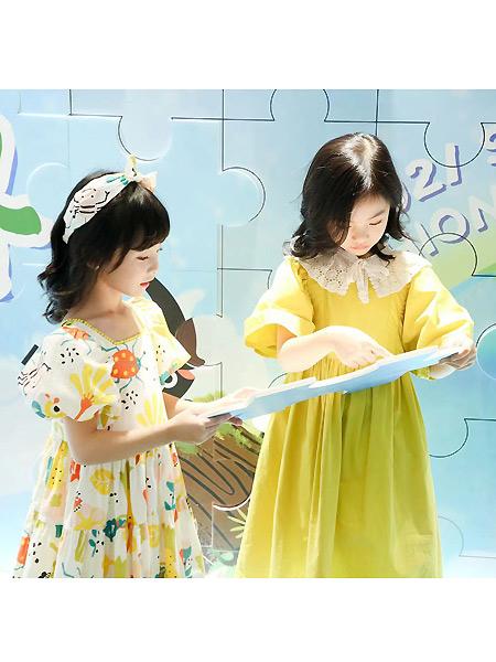 优露童装童装品牌2021春夏宽松黄色连衣裙