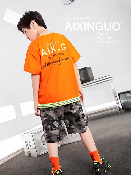 爱心果童装品牌2021春夏橙色印字母运动上衣