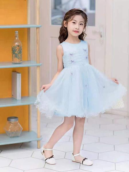 班吉鹿banjilu童装品牌2021春夏无袖蓝色雪纺连衣裙
