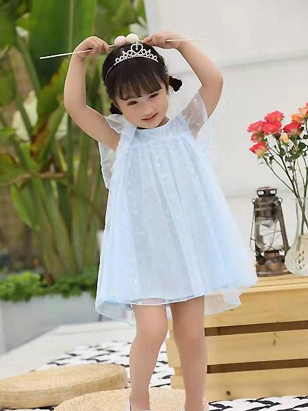 班吉鹿banjilu童装品牌2021春夏雪纺蓝色连衣裙