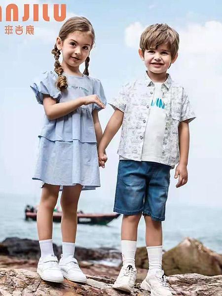 班吉鹿banjilu童装品牌2021春夏泡泡袖微褶连衣裙