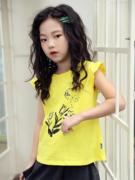 蒙蒙摩米 Mes amis童装品牌2021春夏何荷叶无袖黄色上衣