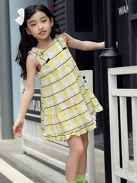 蒙蒙摩米 Mes amis童装品牌2021春夏格子吊带连衣裙
