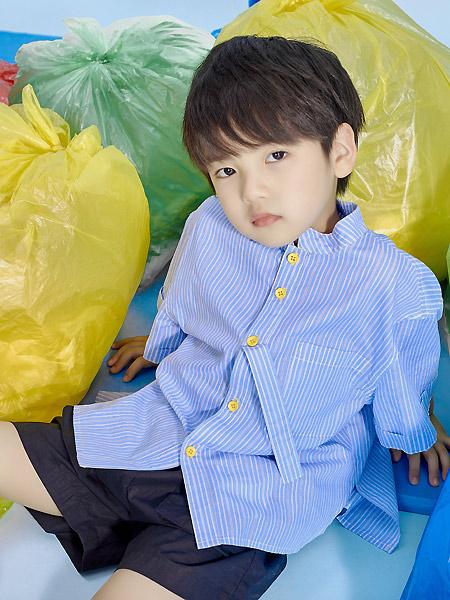 宝贝传奇童装品牌2021春夏条纹蓝色衬衫