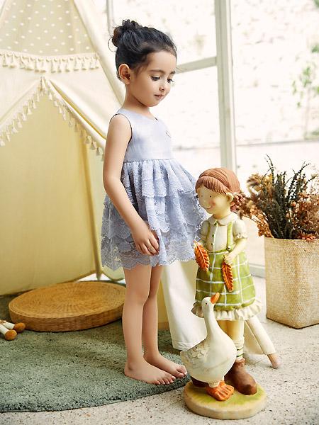 三木比迪童装品牌2021春夏无袖叠层连衣裙
