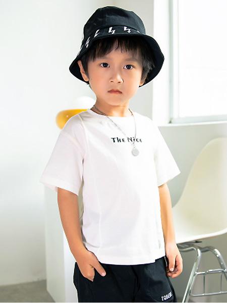淘气贝贝童装品牌2021春夏时尚印字母T恤