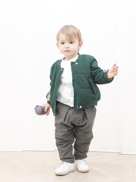圣宝度伦童装品牌2021春夏无领绿色羽绒服外套