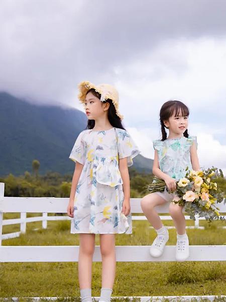 莳季童装品牌2021夏季荷叶无袖短裙