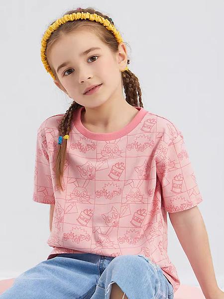 中启服饰童装品牌2021夏季粉色中袖T恤