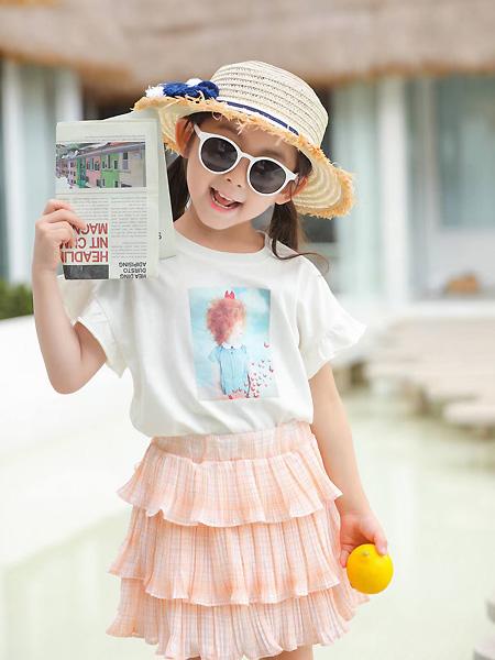 中启服饰童装品牌2021夏季白色百搭上衣