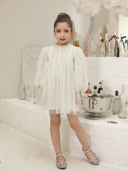 快乐精灵童装品牌2021夏季薄款网纱灯笼长袖短裙