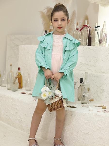 快乐精灵童装品牌2021夏季翻领荷叶长袖外套
