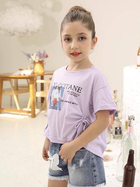 快乐精灵童装品牌2021夏季紫色收褶上衣