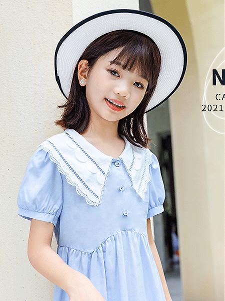 卡儿菲特童装品牌2021夏季小清新蓝色治愈连衣裙