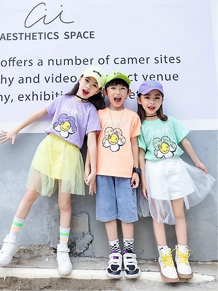 卡儿菲特童装品牌2021夏季小花图案T恤
