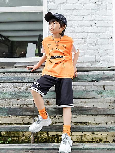 卡儿菲特童装品牌2021夏季橙色户外上衣