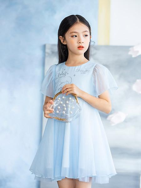 德蒙斯特童装品牌2021夏季雪纺蓝色连衣裙