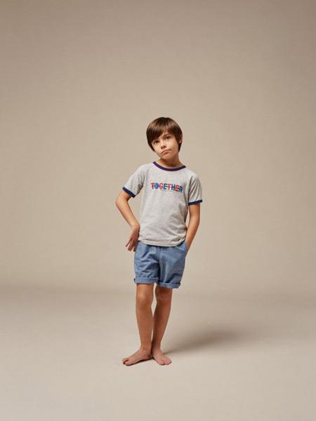 Bonpoint童装品牌2021夏季蓝色宽松短裤