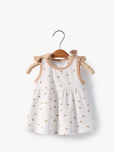 舒贝怡童装品牌2021夏季无袖甜美连衣裙