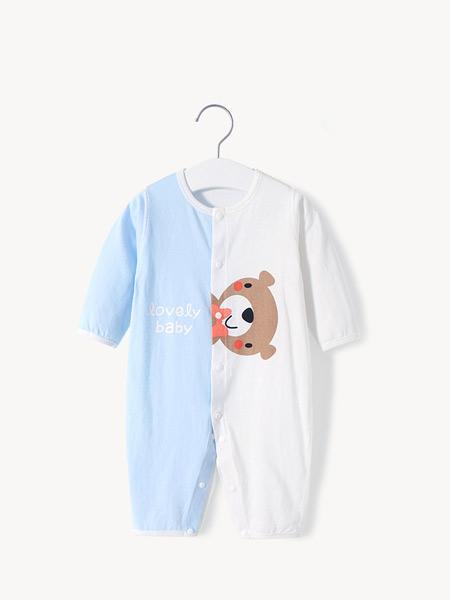 舒贝怡童装品牌2021夏季撞色小熊图案连体衣