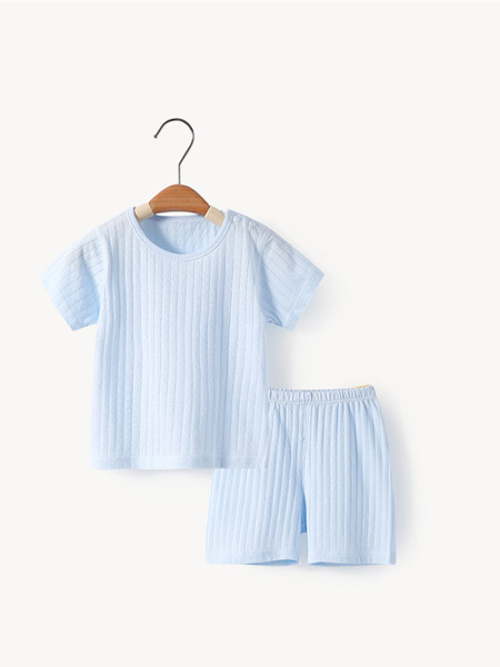 舒贝怡童装品牌2021夏季蓝色纯棉吸汗套装
