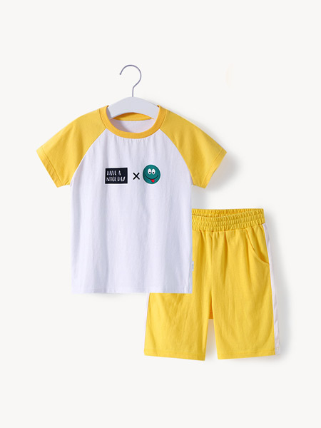 舒贝怡童装品牌2021夏季撞色原宿套装