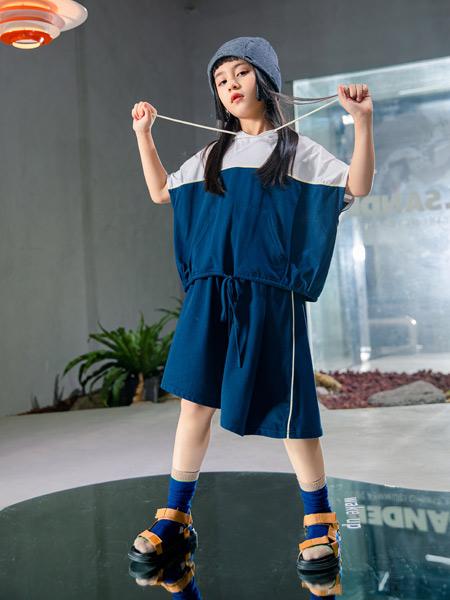 吾名堂童装品牌2021夏季运动风撞色短款套装