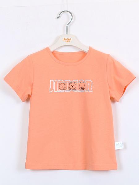 杰米熊童鞋品牌2021夏季橙色T恤