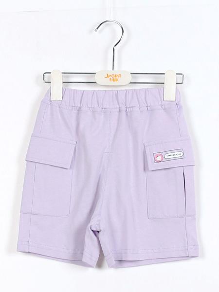 杰米熊童鞋品牌2021夏季紫色工装短裤