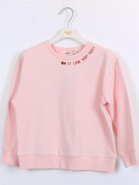 杰米熊童鞋品牌2021夏季粉色长袖上衣