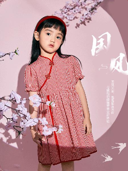 太平鸟童装Mini Peace2021夏季格子甜美改良旗袍