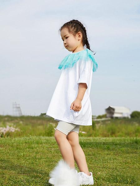 koalamoon /考拉和月亮童装品牌2021夏季网纱装饰领口纯棉上衣