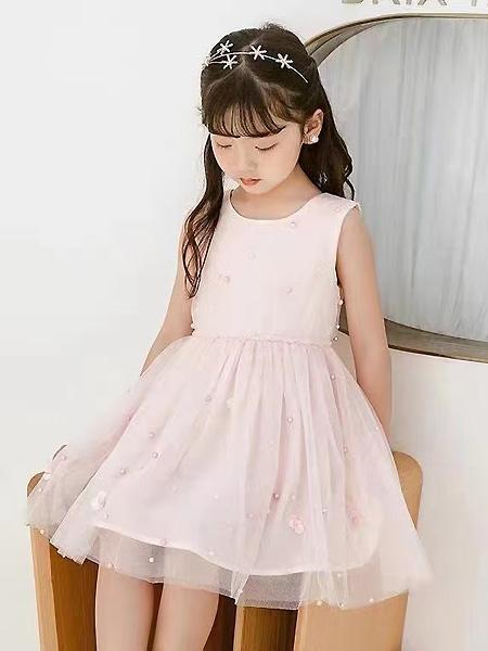 中启服饰童装品牌2021夏季粉色薄纱别致点缀背心裙